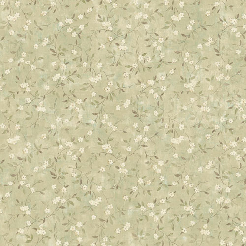 York Wallcoverings Rustic Living Floral Sprig Green Wallpaper - SAMPLE SWATCH ONLY