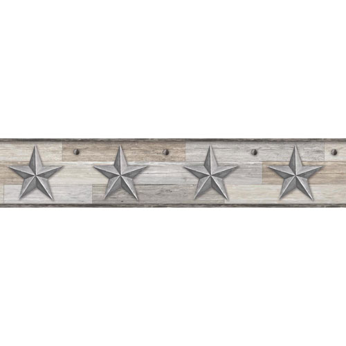 York Wallcoverings Rustic Living Pallet Star Silver Border- SAMPLE SWATCH ONLY