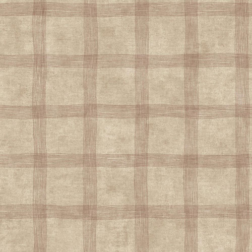 Rustic Living Tattersall Brown Wallpaper - SAMPLE SWATCH ONLY