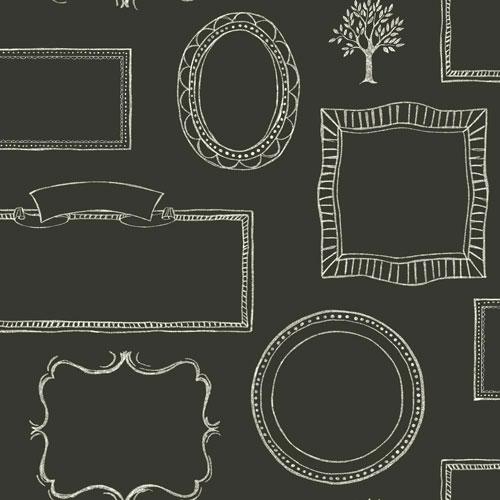 York Wallcoverings Rustic Living Chalkboard Frames Black Wallpaper - SAMPLE SWATCH ONLY
