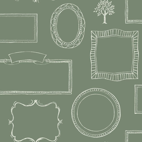 York Wallcoverings Rustic Living Chalkboard Frames Green Wallpaper - SAMPLE SWATCH ONLY