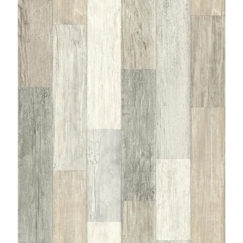 Rustic Living Pallet Board White and Off White Wallpaper