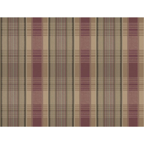 York Wallcoverings Rustic Living Bartola Plaid Red Wallpaper - SAMPLE SWATCH ONLY