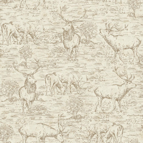 York Wallcoverings Rustic Living Stag Toile Brown Wallpaper - SAMPLE SWATCH ONLY