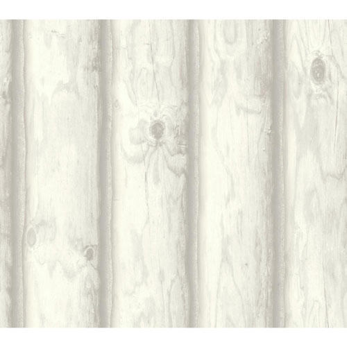 York Wallcoverings Rustic Living Mountain Logs White and Off White Wallpaper - SAMPLE SWATCH ONLY