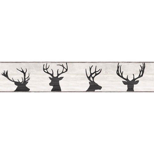 Rustic Living Deer Silhouette Off White Border