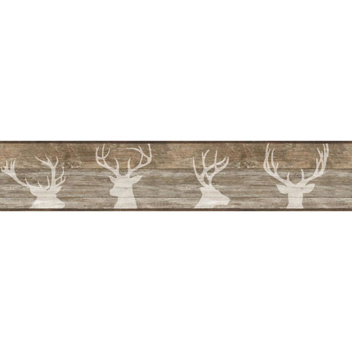 Rustic Living Deer Silhouette Brown Border