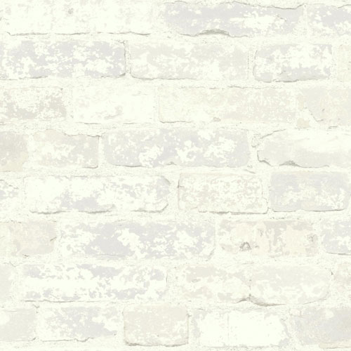 York Wallcoverings Rustic Living Stuccoed Brick White and Off White Wallpaper