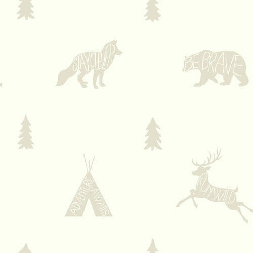 York Wallcoverings Young At Heart Run Wild White and Off White Wallpaper - SAMPLE SWATCH ONLY