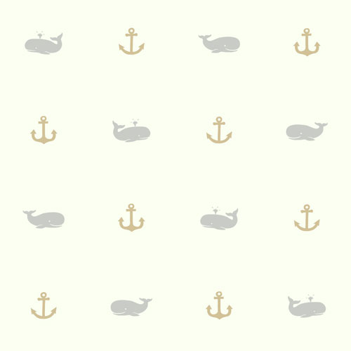 Young At Heart Whale Of A Tale Black and Beige Wallpaper