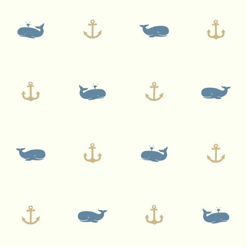 York Wallcoverings Young At Heart Whale Of A Tale Blue and Brown Wallpaper