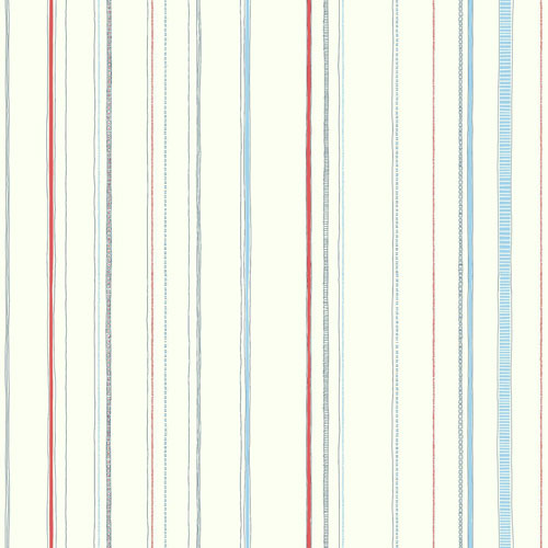 York Wallcoverings Young At Heart Steno Blue, Red and Black Wallpaper