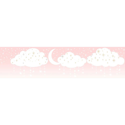 Young At Heart Night Sky Pink and Off White Border