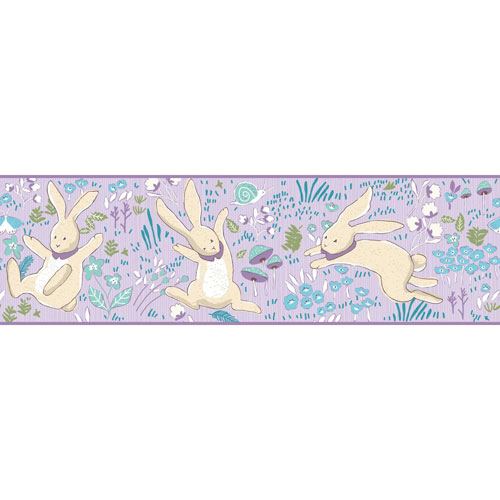 Young At Heart Garden Frolic Purple, Green and Beige Border