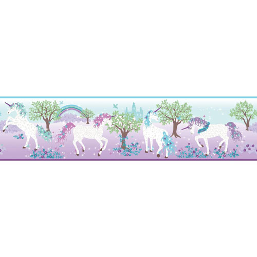 Young At Heart Magic Unicorn Purple, Blue and Green Border