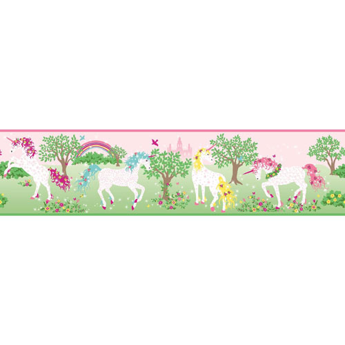 York Wallcoverings Young At Heart Magic Unicorn Pink and Green Border- SAMPLE SWATCH ONLY