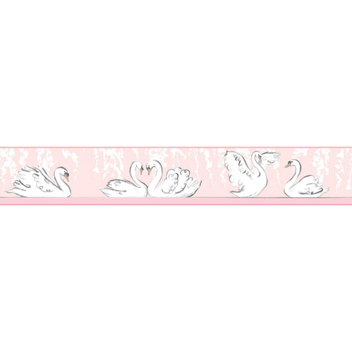 York Wallcoverings Young At Heart Swimming Swans Pink and Black Border