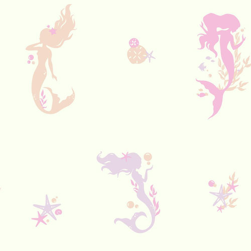 York Wallcoverings Young At Heart Mermaids Pink And White Off Whites Wallpaper