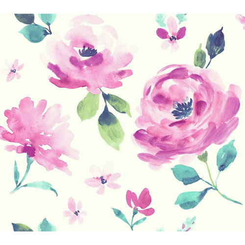 York Wallcoverings Young At Heart Watercolor Blooms Pink, Blue and Green Wallpaper - SAMPLE SWATCH ONLY