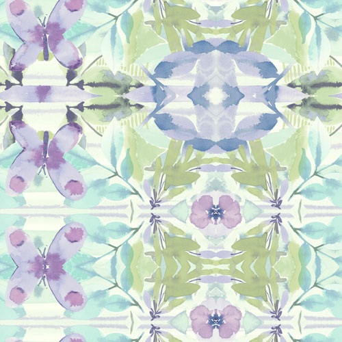 York Wallcoverings Young At Heart Synchronized Purple, Green and Blue Wallpaper - SAMPLE SWATCH ONLY