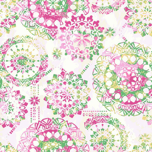 York Wallcoverings Young At Heart Bohemian Pink, Green and Yellow Wallpaper