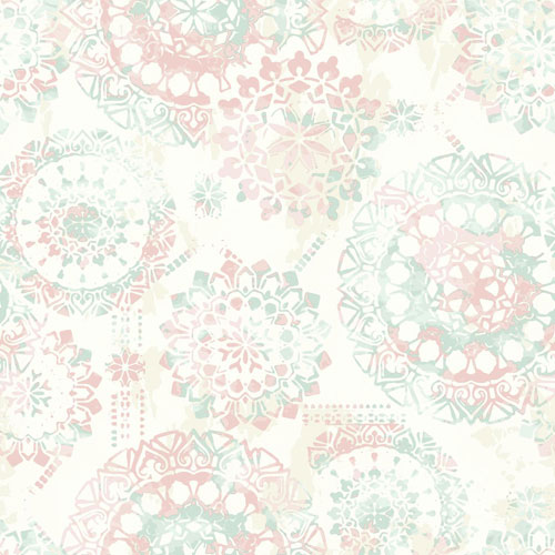 York Wallcoverings Young At Heart Bohemian Green, Pink and Beige Wallpaper
