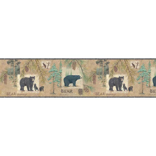York Wallcoverings Lake Forest Lodge Bear Border: Sample Swatch Only