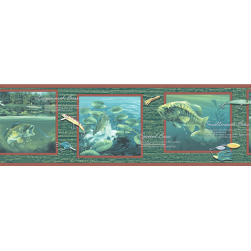 York Wallcoverings Lake Forest Lodge Bass Fishing Border: Sample Swatch Only