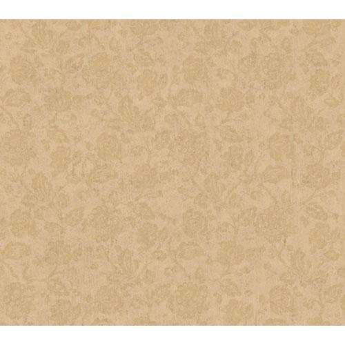 Remington Metallic Gold Rose Stone Jacobean Wallpaper: Sample Swatch Only