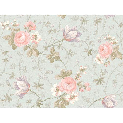 Remington Light Blue and Pink Rose Rose Tulip Floral Vine Wallpaper: Sample Swatch Only
