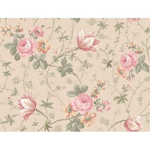 Remington Sand and Rose Rose Rose Tulip Floral Vine Wallpaper: Sample Swatch Only