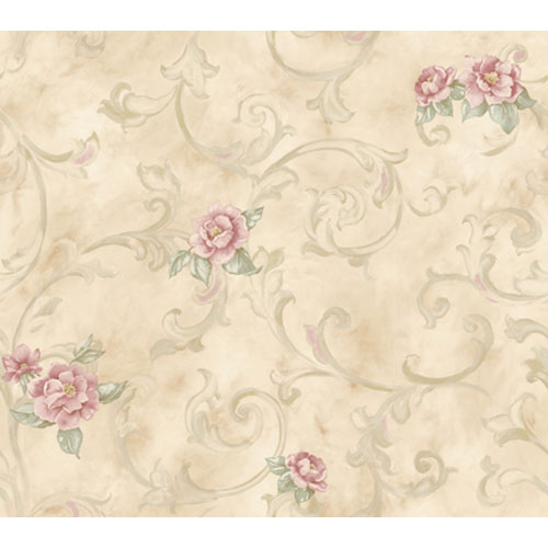 York Wallcoverings Remington Beiges and Pink Rose Rose Fresco Scroll Wallpaper: Sample Swatch Only