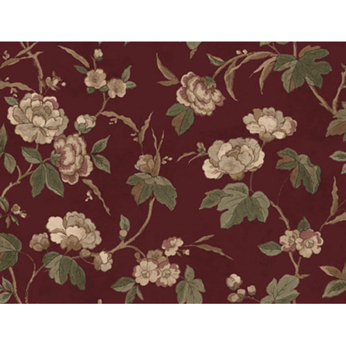 Remington Burgundy Background and Pink and Green Rose Peony Wallpaper: Sample Swatch Only