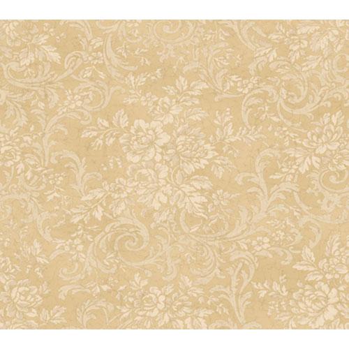 York Wallcoverings Remington Tan Rose Damask Wallpaper: Sample Swatch Only