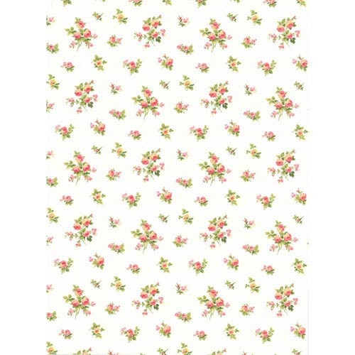 York Wallcoverings Casabella II White Mini Rose Toss Wallpaper: Sample Swatch Only