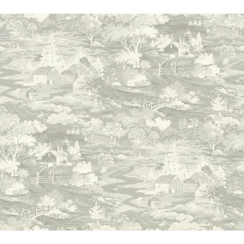 Magnolia Home Homestead Gray and Off White Removable Wallpaper