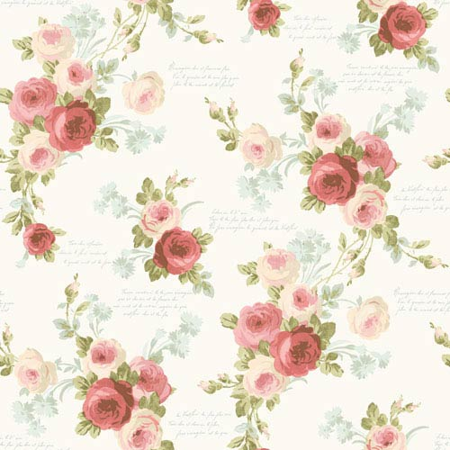 Heirloom Rose Pink and Blue Removable Wallpaper