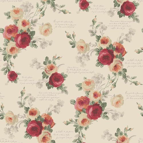 Heirloom Rose Red and Beige Removable Wallpaper