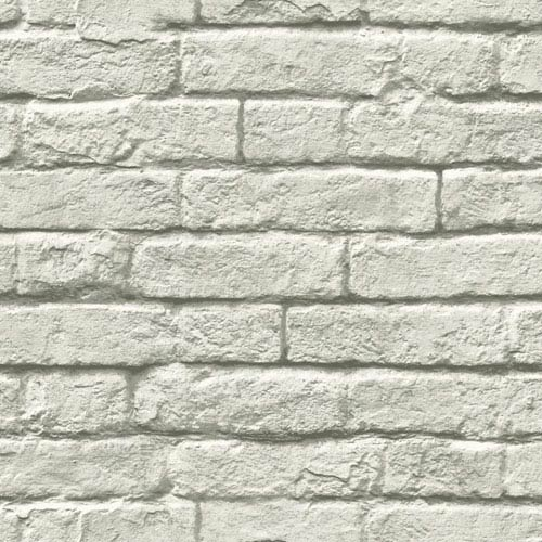 Brick-and-Mortar Gray and White Removable Wallpaper