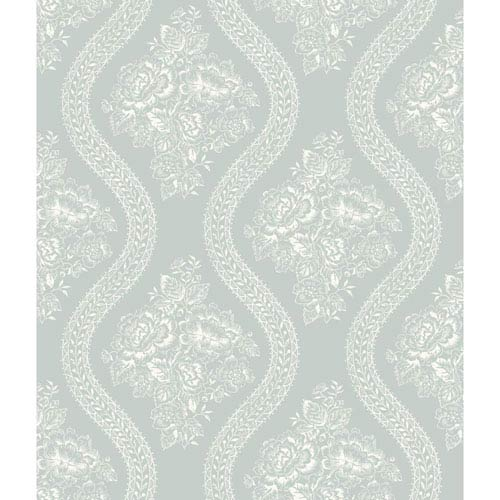 Coverlet Floral White and Blue Removable Wallpaper- SAMPLE SWATCH ONLY
