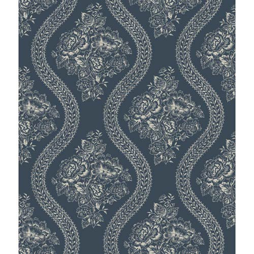 Magnolia Home Coverlet Floral Gray and Blue Removable Wallpaper