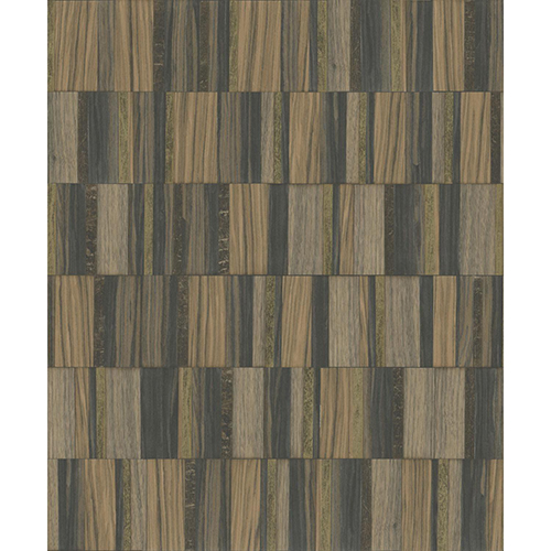 Mixed Materials Black and Gold Wood Veneer Wallpaper - SAMPLE SWATCH ONLY