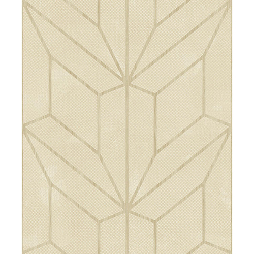 Mixed Materials Beige and Wood Geometric Wallpaper