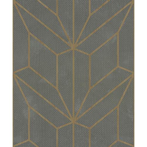 Mixed Materials Gray and Wood Geometric Wallpaper