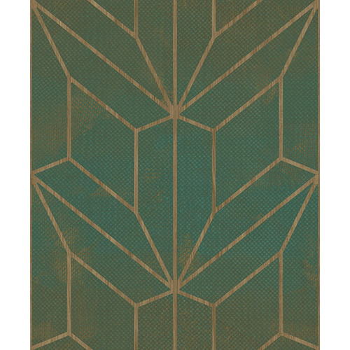 Mixed Materials Forest Green and Wood Geometric Wallpaper