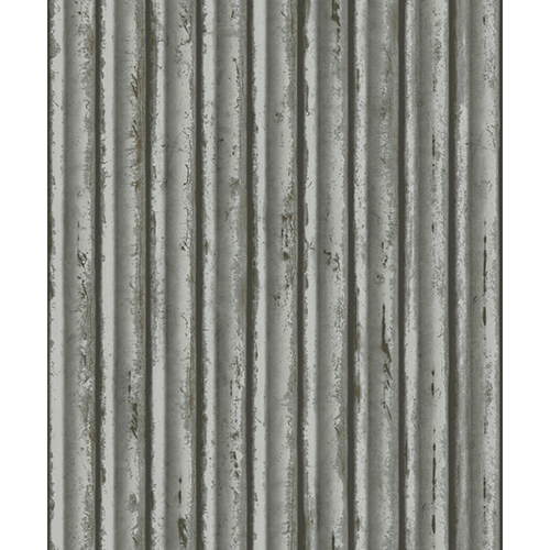 Mixed Materials Gray and Silver Weathered Metal Wallpaper