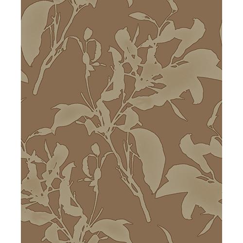 Mixed Materials Copper Botanical Wallpaper