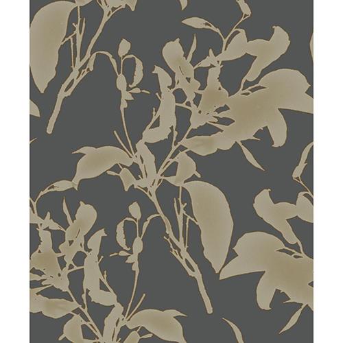 Mixed Materials Black and Copper Botanical Wallpaper