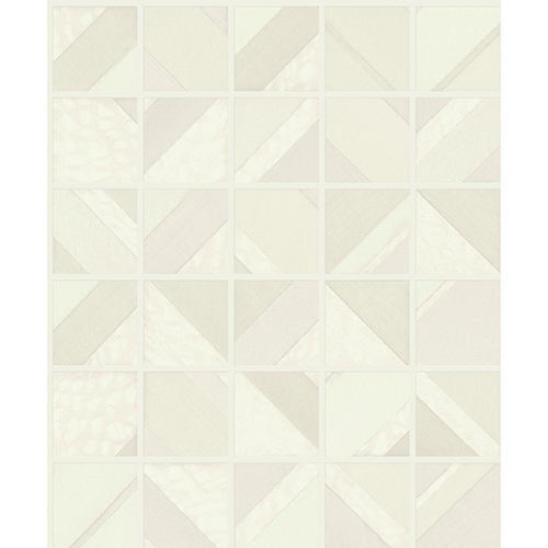 Mixed Materials Beige Patchwork Tile Wallpaper