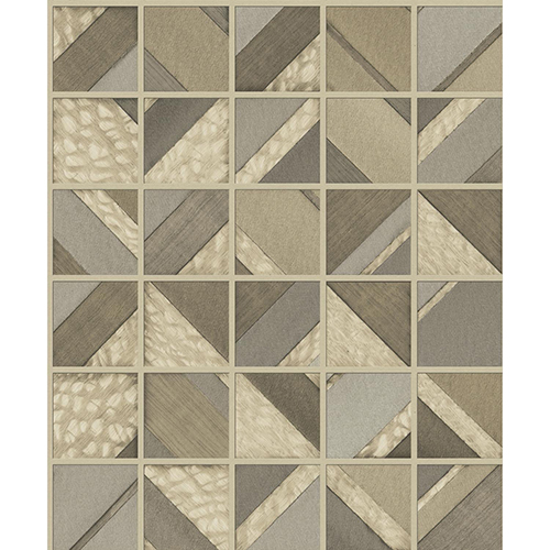 Mixed Materials Light Brown Patchwork Tile Wallpaper